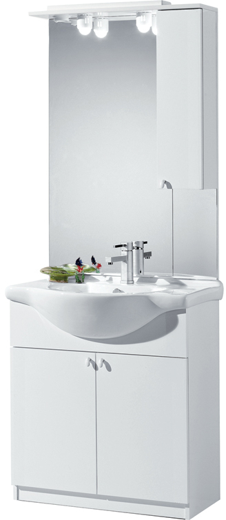 Sipafer s p a mobile per bagno art 94 74 fc con 2 ante specchio pensile dx e lavabo - Specchio con ante per bagno ...