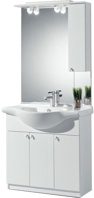 Sipafer s p a mobile per bagno art 94 80 fc con 3 ante specchio pensile dx e lavabo - Specchio con ante per bagno ...